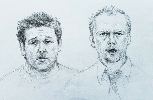 Movie Art to Support Swan Dive - Ed and Shaun - Shaun of the Dead