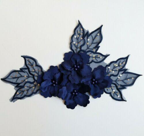 3D Navy Sequined Floral Embroidery Applique Motif Lace Trim EB0394