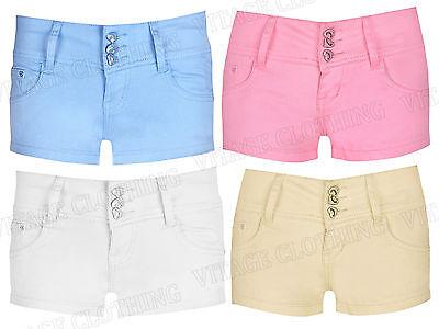 K8074 -Women's 3 Heart Buttons Glitter High Waisted Party Hotpant Shorts 6-14