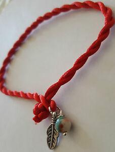 Red String Protection silver Feather Bracelet Earth Jasper Adjustable Kabbalah