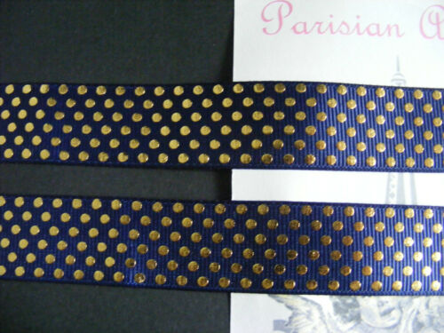 """22mm Foil Printed Grosgrain Ribbon By the Metre- #4428 Navy /& Gold 7//8/"""""""