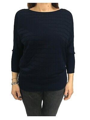 ELENA MIRÒ maglia donna blu manica lunga dettagli bianco 65/% viscosa
