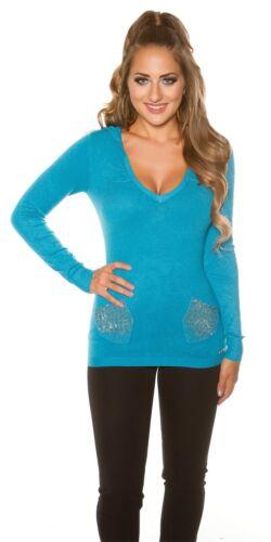 KouCla Pullover Sweater mit Kapuze und Strass