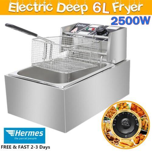 Deep Fat Fryer 6L Stainless Steel Electric Fryer 2500W Countertop Single Tank UK