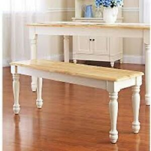Details about Dining Bench Kitchen Table Farmhouse Wood Seat Country White  Extra Seating