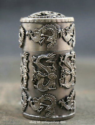 """3/"""" Collection Chinese Silver Handwork Animal Dragon Phoenix Pretty Toothpick Box"""