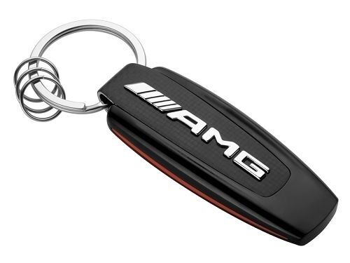 carbon black silver red NEW Mercedes Benz AMG key ring stainless steel