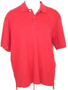 IZOD-Mens-Red-Polo-Golf-Casual-Shirt-Short-Sleeve-100-Cotton-Size-L-Large