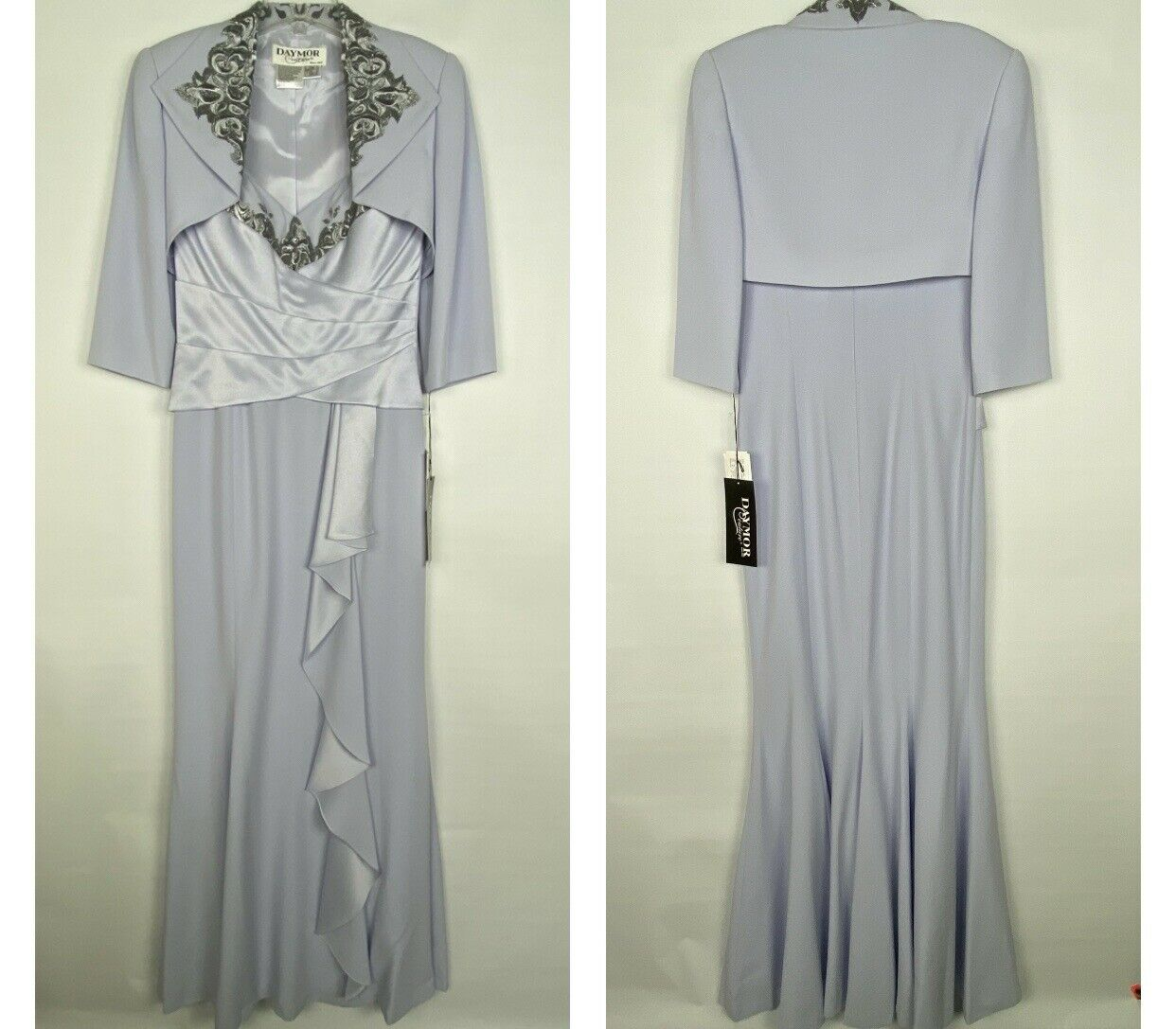 Daymor Couture Mother Of Bride Gown 2 Piece Dress Jacket Set Beaded Lilac 4 NEW