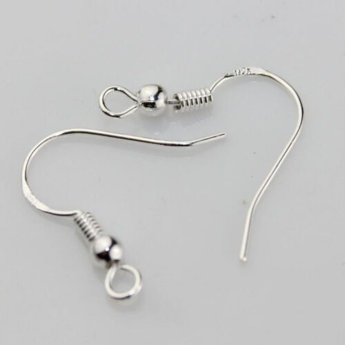 100PCS Silver Plated EARRING HOOK COIL EAR WIRE Earring Findings 15MM