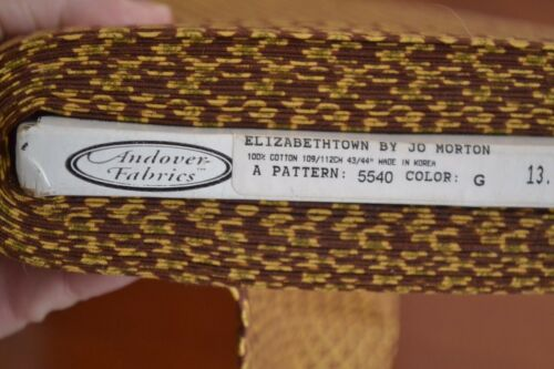 """Gold on Brown Quilting Cotton /""""Elizabethtown/"""" By 1//2 Yd B03 Andover//Morton"""