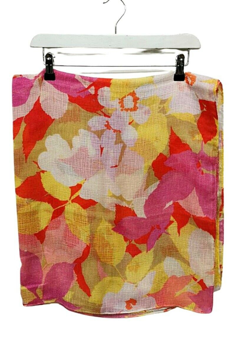 Pink, Red & Yellow Floral Pattern Lightweight Scarf - One Size