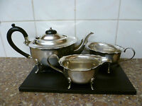 VINTAGE,THREE PIECE SILVER PLATED TEA SERVICE WITH BAKELITE HANDLE. EPNS TEA SET