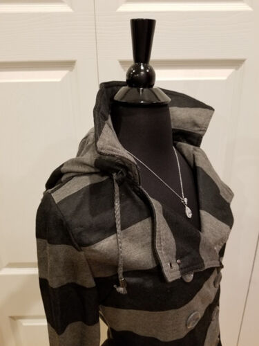 Wet Seal Punk Unique Black Gray Striped Double Breasted Jacket Coat S M NWT
