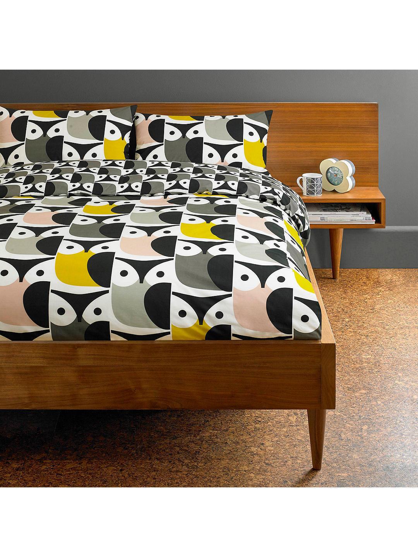 Orla Kiely Big Owl Bedding Duvet Cover, Single Pink   Grey