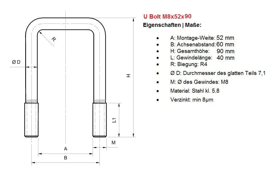 M8B/ügelschellen Auspuffschellen U Bolt Clamp alle Durchmesser M8 83mm 1 St/ück