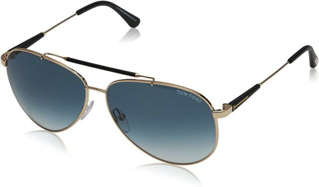 50416d4a207 Tom Ford Rick TF 378 28W Aviator Sunglasses Gold Blue Grey Gradient  Authentic