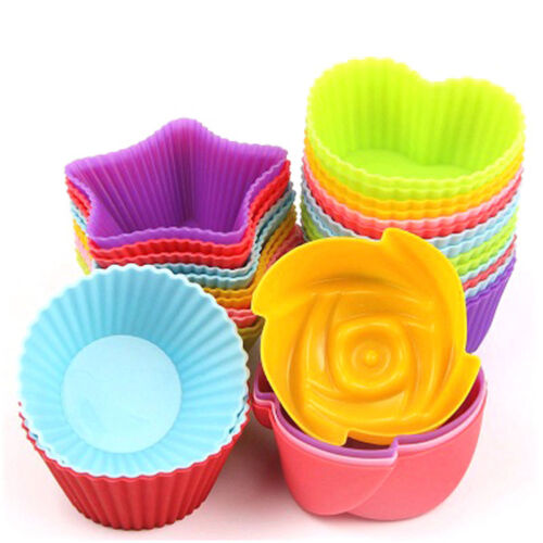 6x Silicone Round Cake Cup Baking Cup Mould Bakeware Baking Mold Muffin Cases UK
