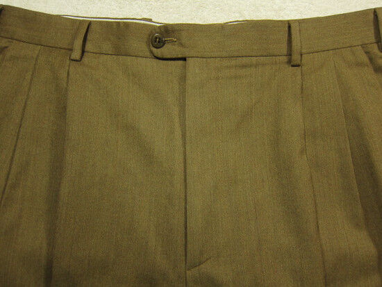 Magnifique Zanella brown Laine Vierge Plissé avant Pantalon 36W 36x28