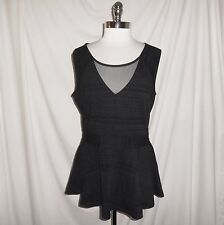 NEW CITY CHIC Plus Size 14W (XS) Shirt Top Black Flocked Design