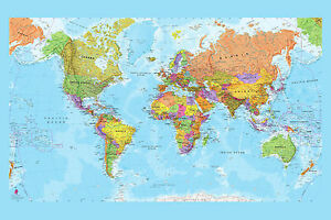 Highly detailed world map large maxi poster art print 91x61 cm ebay image is loading highly detailed world map large maxi poster art gumiabroncs Images