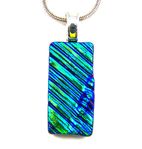 DICHROIC-Glass-PENDANT-Green-Teal-Verdigris-Ripple-Waves-Texture-CHANGES-COLOR