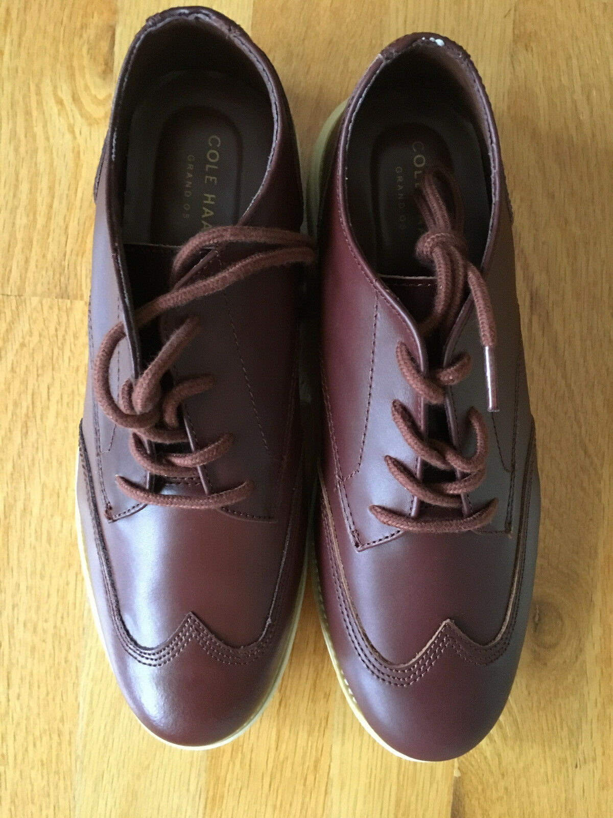 NIB Cole Haan Grand.OS hommes wingtip oxford, woodbury cream, Taille 7