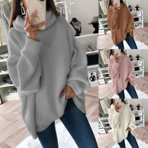 Domple Men Winter Thermal Pullover Knitted Solid Loose Turtleneck Sweater