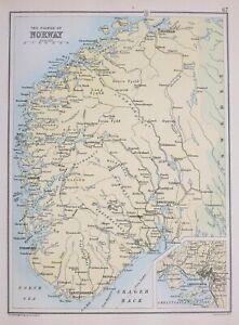 Details About 1894 Map Fjords Of Norway Bergen Odde Stavanger Christiansand Arendal Kongsberg