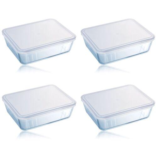 Pyrex cook /& store 4Pc 4L rectangulaire classique verre de cuisson plat avec un couvercle en plastique