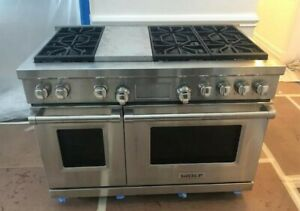 Details About Wolf Df486g 48 Professional Dual Fuel Range Stove 6 Burners Griddle Used