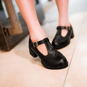 Womens Girls Brogue Vintage T Strap Bar Mary Janes Pumps Shoes