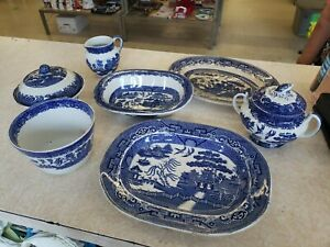 Vtg-Antique-W-Adams-amp-Sons-Stafforshire-Blue-Willow-Set-Of-7