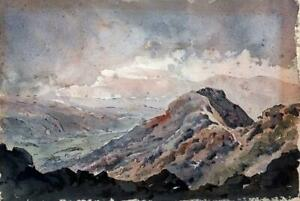 MOUNTAIN-LANDSCAPE-Watercolour-Painting-1974-SIGNED