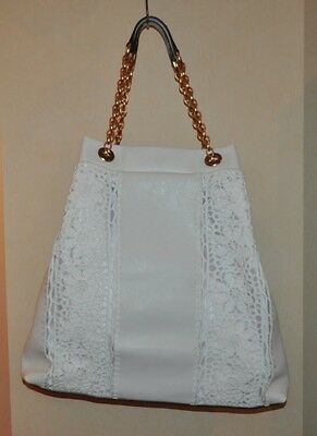 $2270 Authentic New Women's Dolce & Gabbana White Leather Shopping Bag