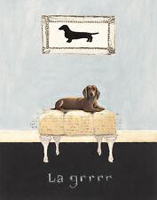 """DACHSHUND SMOOTH DAXI GERMAN SAUSAGE DOG FINE ART PRINT - """"Le Grrrr"""""""
