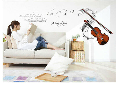 VIOLIN MUSIC MODERN ART REMOVABLE WALL STICKER VINYL DECAL HOME ROOM DECOR 6072