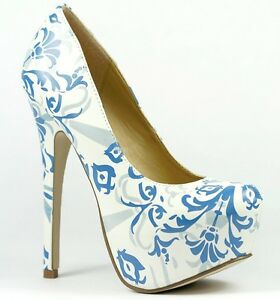 White Blue Floral Almond Toe High Stiletto Heel Platform Pump