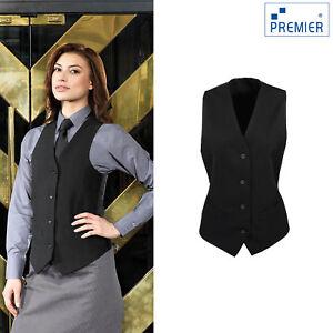 Premier Women/'s Lined 4 Button Business Workwear Smart Satin Back Waistcoat New