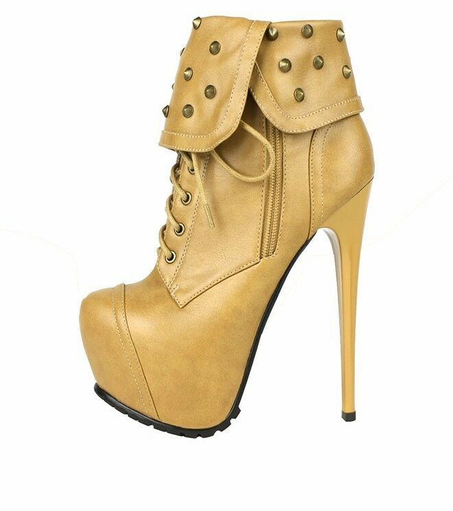 Women Round Toe Retro Rivets Ankle Boots Lace Up Stiletto Heel Booties shoes