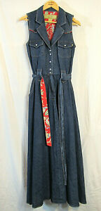 Rare-vintage-Desert-Diva-by-Sherry-Holt-Western-Denim-Jumper-Dress-Size-S-Mint