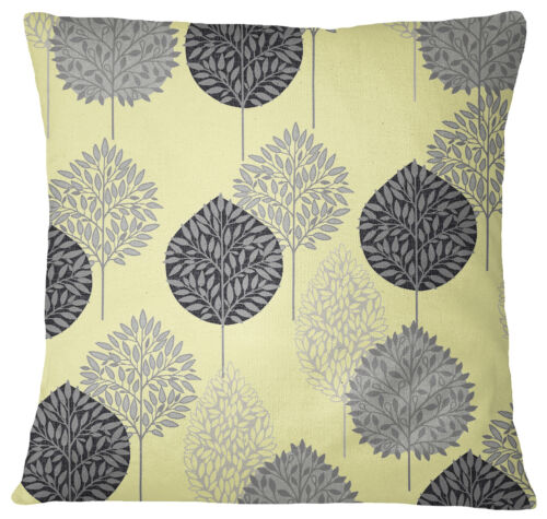 S4Sassy quadratische Kissen Fall Baum gedruckt blass gelbe Kissenhülle
