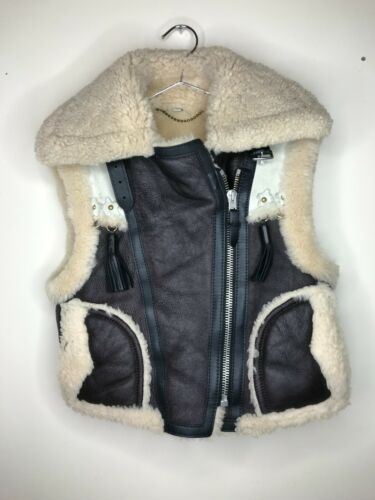 Coach 1941 Shearling Jacket Moto Vest Sheepskin Br