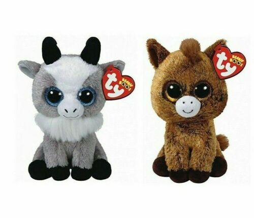 Ty 6 GABBY Goat and HARRIET Horse Beanie Boos Stuffed Animal Toy Plush MWMTs