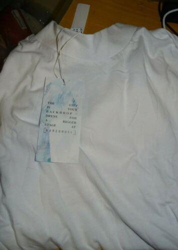 Warehouse Funnel Neck T-Shirt White VR219 01