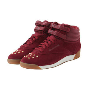 7e8c03fd322c Womens Reebok Classic FS Hi Bling Trainers Suede Red UK Sizes 3.5 ...