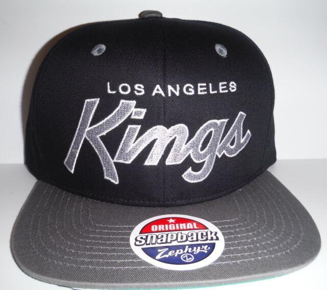 Los Angeles LA Kings Authentic Black   Grey Script Snapback NWT Hat Zephyr  Cap ebe38c8b2