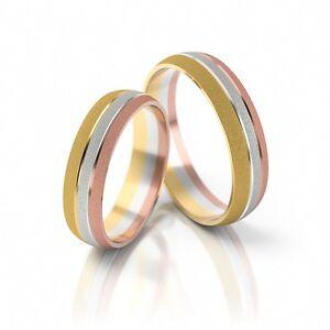 1 Paar Trauringe Eheringe Hochzeitsringe Gold 333 Tricolor