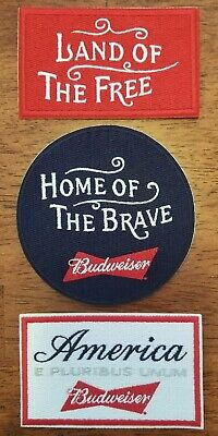 x3 Genuine Budweiser Embroidered Iron On Patches
