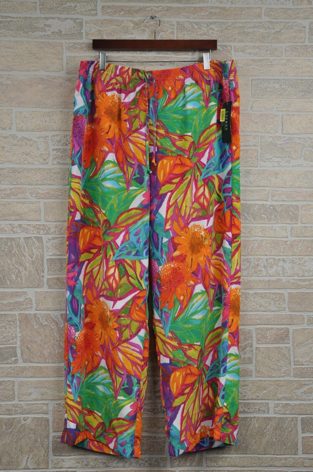 Lauren Ralph Lauren Women Plus Size 3X Tropical Floral Wide Leg Pants